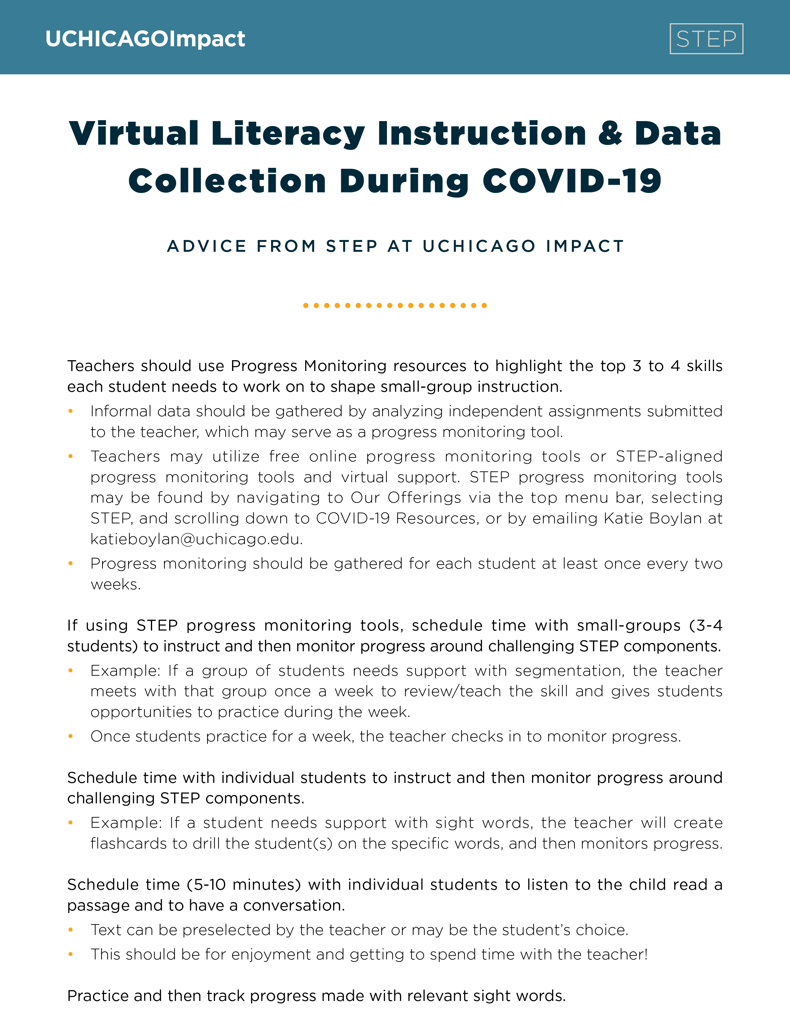 Virtual Literacy Instruction & Data Collection During COVID-19: Advice from STEP at UChicago Impact